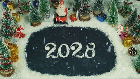 Stop motion animation of 2028 lettering 스톡 콘텐츠