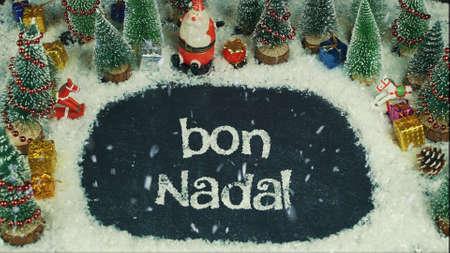 英語メリークリスマスでボンナダル(カタロニア語)のモーションアニメーションを停止 写真素材