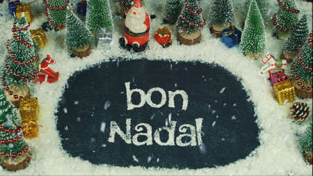 Stop motion animation of Bon Nadal (Catalan), in english Merry Christmas Banco de Imagens