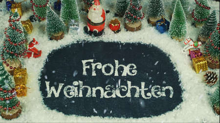 Stop motion animation of Frohe Weihnachten (German), in English Merry Christmas
