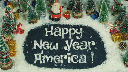 Stop motion animation of Happy New Year America
