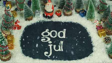 Stop motion animation of God Jul (Norwegian), in english Merry Christmas 免版税图像 - 91554559