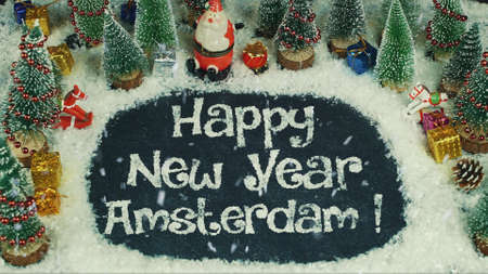 Stop motion animation of Happy New Year Amsterdam 版權商用圖片