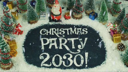 Stop motion animation of Christmas party 2030 免版税图像