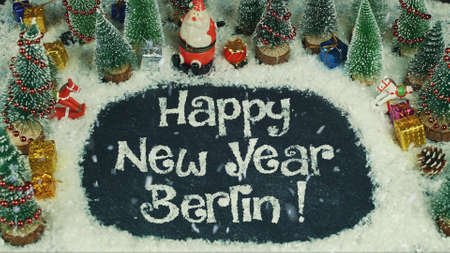 Stop-motion animatie van Happy New Year Berlin Stockfoto