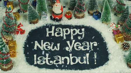 Stop motion animation of Happy New Year Istanbul 스톡 콘텐츠