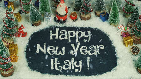Stop motion animation of Happy New Year Italy