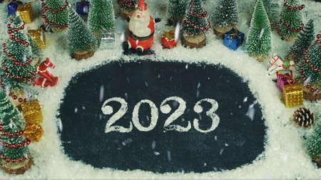 Stop motion animatie van 2023 belettering Stockfoto