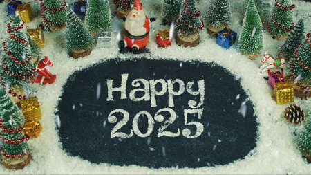 Stop motion animation of Happy 2025