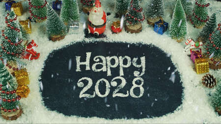 Stop motion animation of Happy 2028