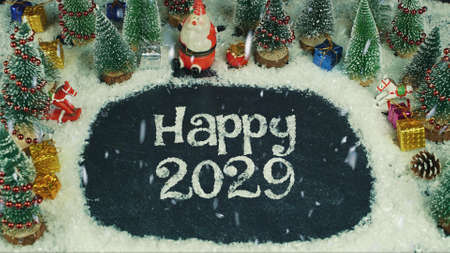 Stop motion animation of Happy 2029