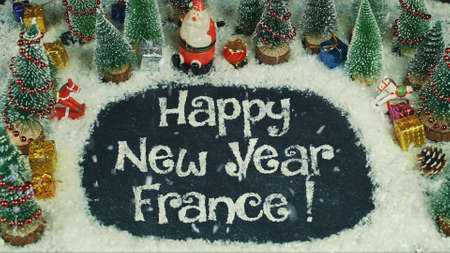 Stop motion animation of Happy New Year France