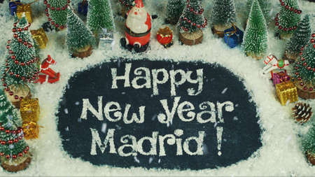 Stop motion animation of Happy New Year Madrid Standard-Bild