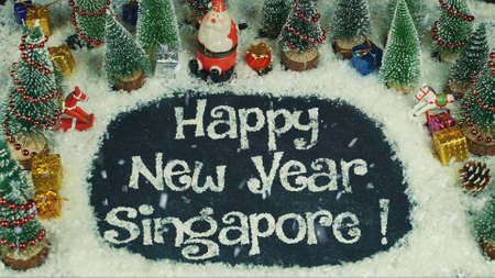 Stop motion animation of Happy New Year Singapore 免版税图像