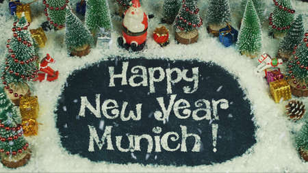 Stop motion animation of Happy New Year Munich 免版税图像