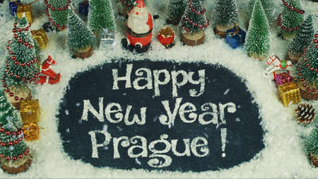 Stop motion animation of Happy New Year Prague