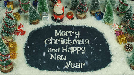 Stop motion animation of Merry Christmas and Happy New Year