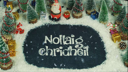 Stop motion animation of Nollaig Chridheil (Scotland), in English Merry Christmas 스톡 콘텐츠