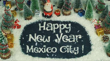 Stop motion animatie van Gelukkig Nieuwjaar Mexico-stad Stockfoto