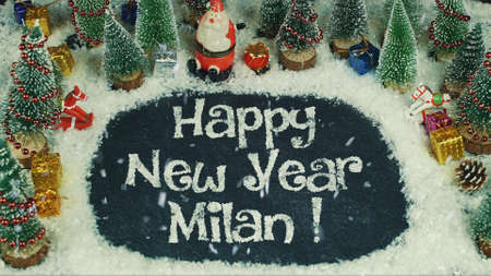 Stop motion animation of Happy New Year Milan 스톡 콘텐츠
