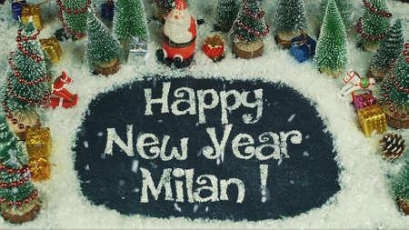 Stop motion animation of Happy New Year Milan Standard-Bild