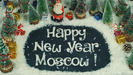 Stop motion animation of Happy New Year Moscow