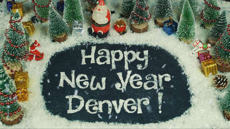 Stop motion animation of Happy New Year Denver 免版税图像