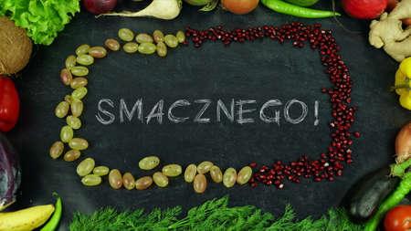Smacznego Polish fruit stop motion, in English Bon appetit 免版税图像