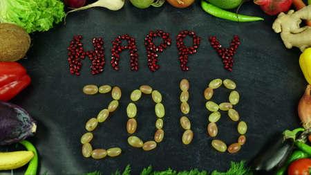 Happy 2018 fruit stop motion