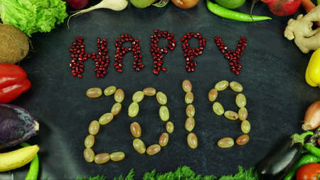 Happy 2019 fruit stop motion 免版税图像