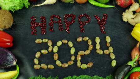 Happy 2024 fruit stop motion 免版税图像 - 91545516