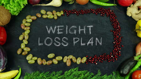 Weight loss plan fruit stop motion 免版税图像 - 91545521