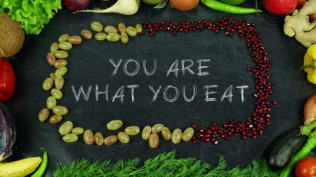 You are what you eat fruit stop motion 免版税图像 - 91546258