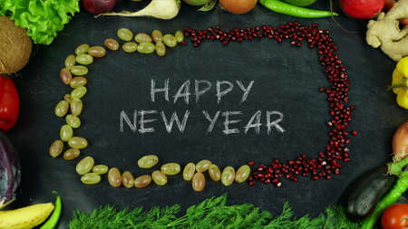 Happy new year fruit stop motion
