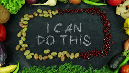I can do this fruit stop motion 免版税图像 - 91546393
