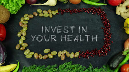 Invest in your health fruit stop motion Banco de Imagens