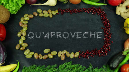 Quaproveche Asturian fruit stop motion, in English Bon appetit 免版税图像 - 91546511