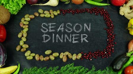 Season dinner fruit stop motion