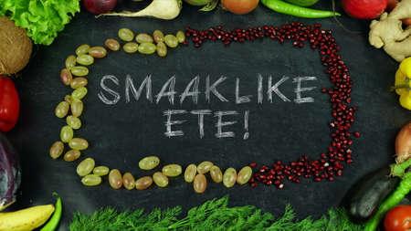 Smaaklike ete Afrikaans fruit stop motion, in English Bon appetit Stock Photo