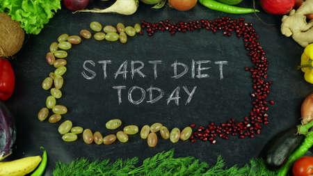 Begin vandaag met dieet fruit stop motion Stockfoto