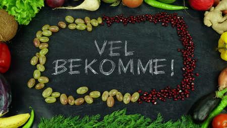 Vel bekomme Norwegian fruit stop motion, in English Bon appetit Stock Photo