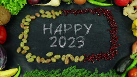 Happy 2023 fruit stop motion