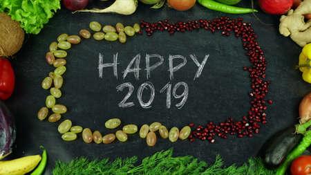Happy 2019 fruit stop motion Standard-Bild