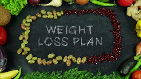 Weight loss plan fruit stop motion Standard-Bild