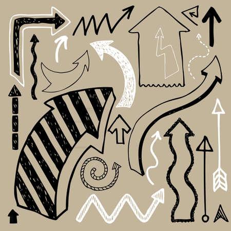 garabatos: Vector conjunto de flechas dibujadas a mano