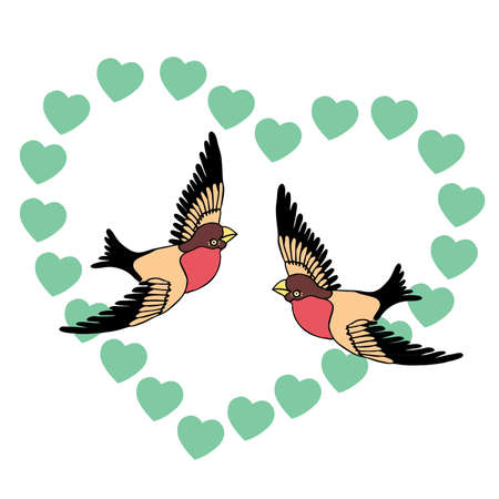 Two love birds and hearts  Illustration