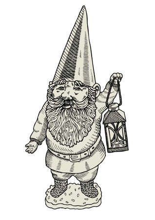 gnome: Garden gnome with a lantern  Illustration