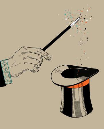 Mago mano con la varita mágica y el sombrero