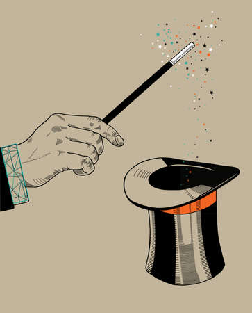mago: Mago mano con la varita mágica y el sombrero Vectores