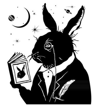 Intelligent rabbit reading a book